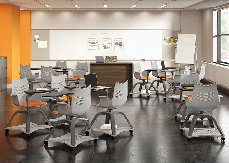 National Office Furniture Essay Student Chairs, Mix-It Task Chair, Arrowood Desk, WaveWorks Filing Cabinet, Exhibit Wall Rail Solution and Universal Mobile Marker Board