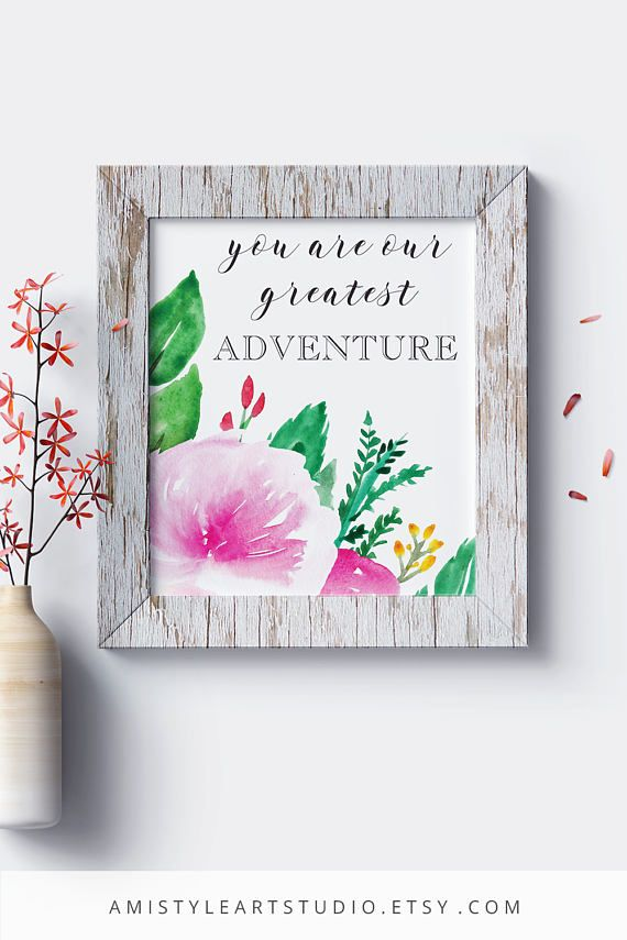 Printable Nursery Wall Art - You are our greatest adventure - with watercolor peonies and lettering - Nursery room decor for baby girls by Amistyle Studio Art on Etsy