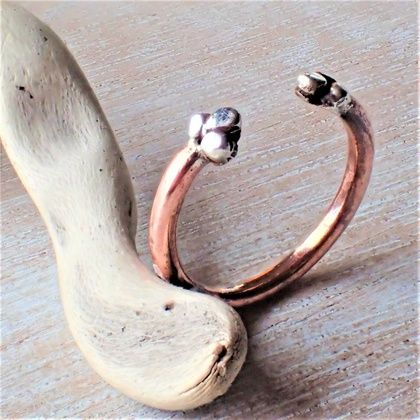 Silver and Copper BoHo Ring.