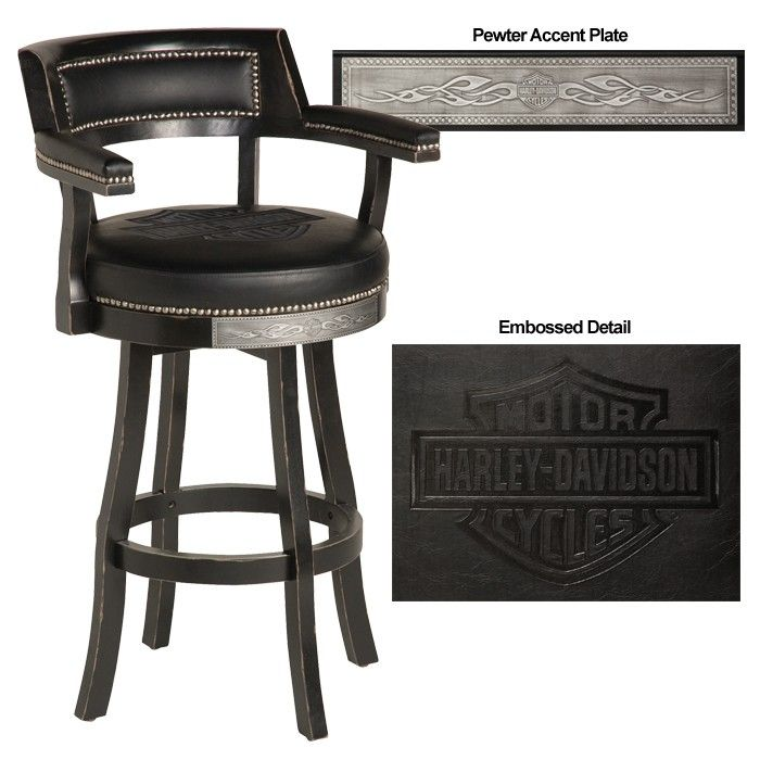 Harley Davidson Bar Shield Flames Barstool W Backrest Vintage Black Finish Harley Davidson