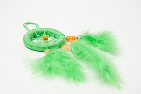 DREAMCATCHER catch your dreams, handmade colorful decoration, home decor, gift idea, green orange, love &joy, high quality feathers