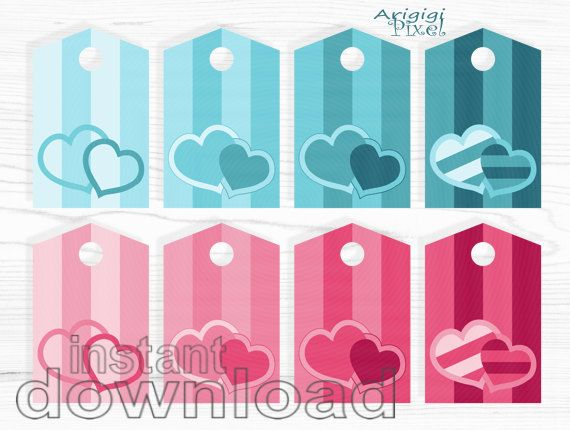 #Valentine #Gift #Tags #Printable - pink turquoise - stripes and hearts - for girls - ready to print - download gift tags http://etsy.me/2DzECLi #supplies #blue #sewing #valentinesday #babyshower #pink #downloadgifttags #readytoprint