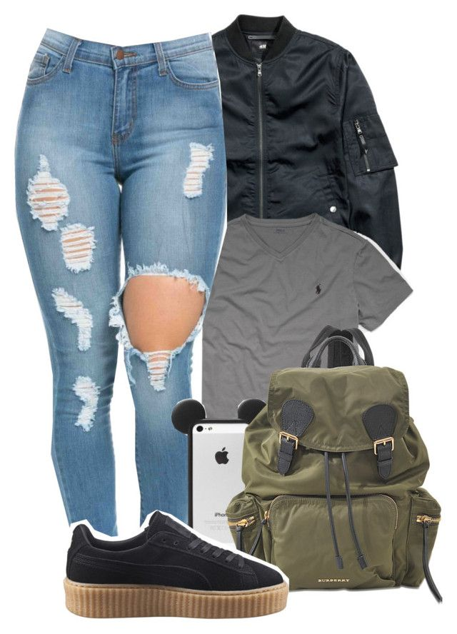 """Polo👚"" by melaninaire ❤ liked on Polyvore featuring H&M, Ralph Lauren, Burberry and Puma"