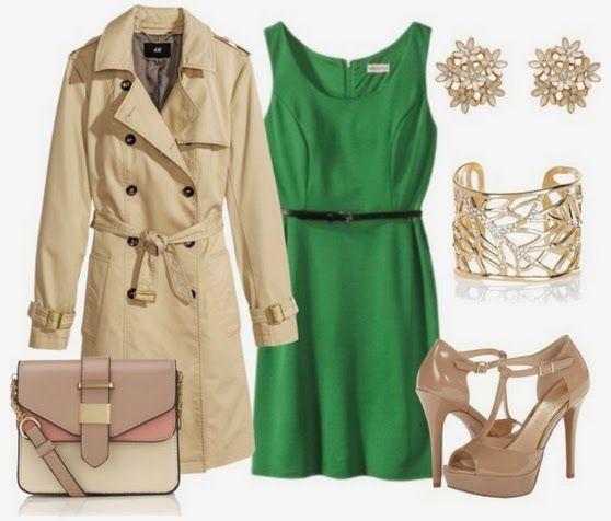 Combinación con vestido verde esmeralda