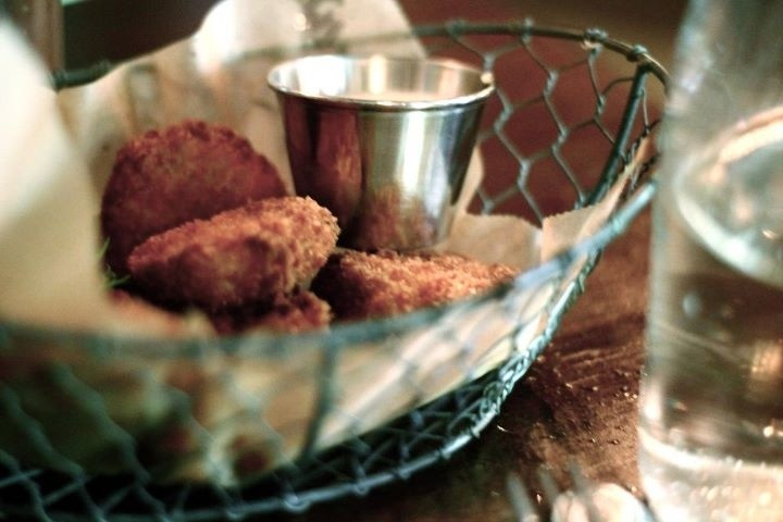 Fried pickles at the Esquire Tavern in San Antonio. Their deviled eggs are even better.