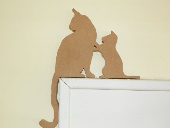 Unfinished cute set of kitten and mom door window topper for Window scroll function