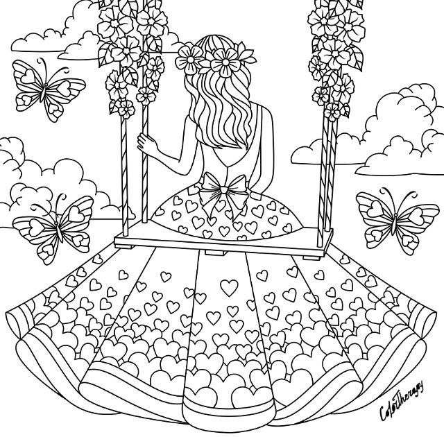 Girl Sitting On A Swing Coloring Page Heart Coloring Pages Coloring Book Coloring Pages For Girls Coloring Pages Heart Coloring Pages Cupcake Coloring Pages