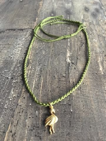 Macrame necklace with siver (gold plated) flamingo
