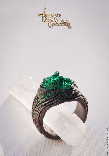 """Polymer clay ring / Кольца ручной работы. Ярмарка Мастеров - ручная работа. Купить Кольцо """"Cantu vernum"""". Handmade. Тёмно-бирюзовый, кольцо"""