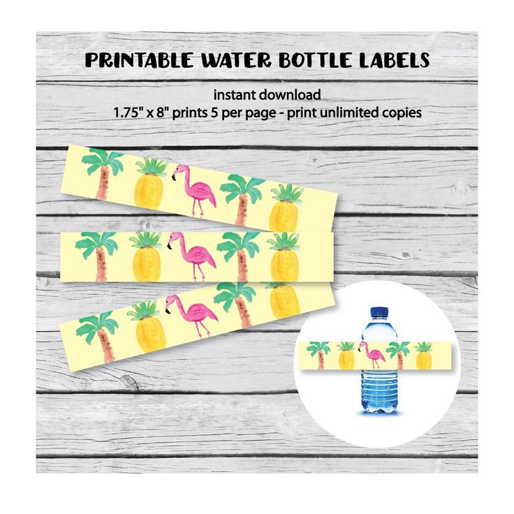 Printable Tropical Water Bottle Labels - PrintItBaby.com - Print It Baby