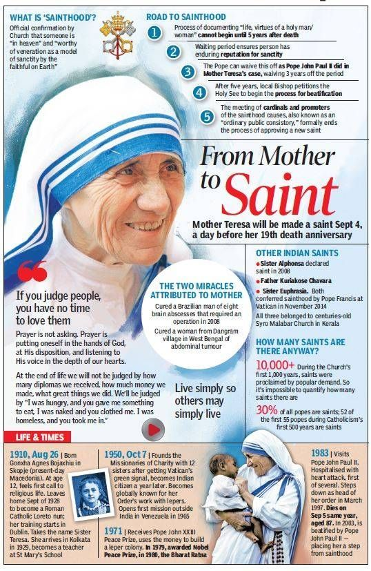 September 4 – today Mother Teresa of Calcutta becomes St Teresa of Calcuta #pinterest #stmotherteresa Mother Teresa of Kolkata, the tiny woman recognized throughout the world for her work among the poorest of the poor, was beatified October 19, 2003. Among those present were hundreds of Missionaries of Charity, the order she founded in 1950 as a diocesan religious community. ............