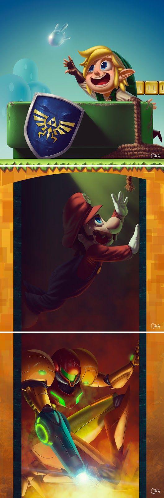 Bottleneck The Legend of Zelda, Super Mario e Metroid by Ricardo Chucky. via: http://www.chucky.com.br/