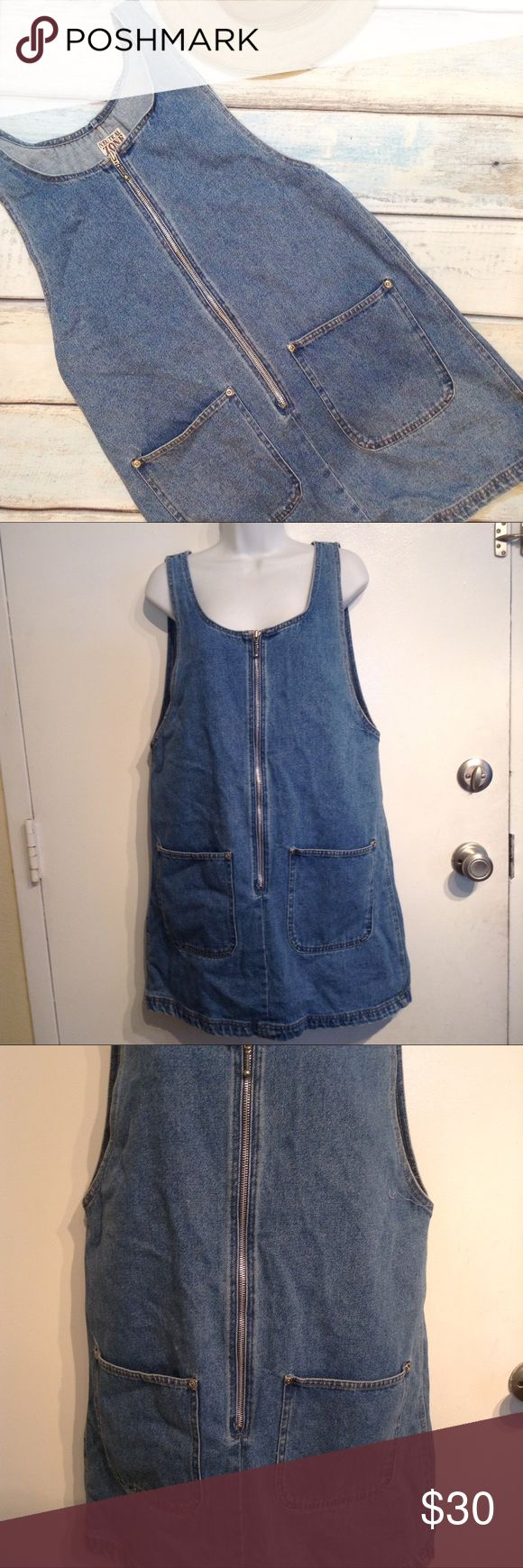 """VTG 90s Denim Zip Up Dress Vintage 90s dress with pockets and zipper up the front. Size medium. Perfect for a tumblr hipster style look. Measures 19.5"""" flat from armpit to armpit and 35.5"""" shoulder to hem. No modeling. Smoke free home. I do discount bundles. Vintage Dresses"""