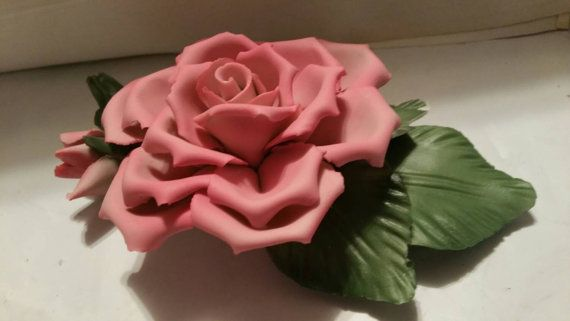 Capodimoute Porcelain Pink Rose by MC5Enterprises on Etsy