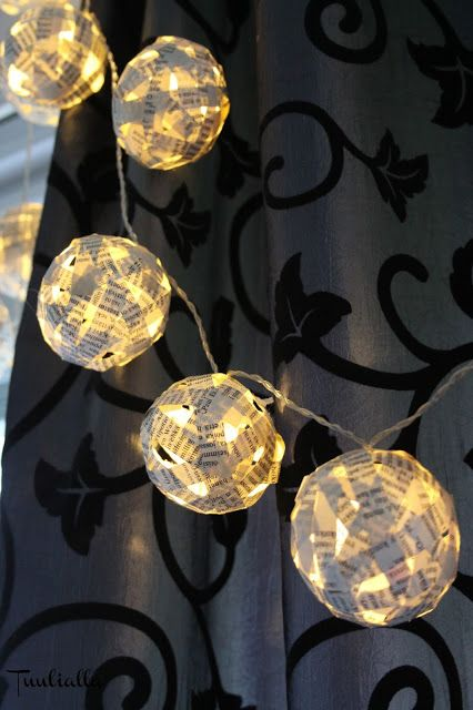Old books transformed in to new interior ball-lights