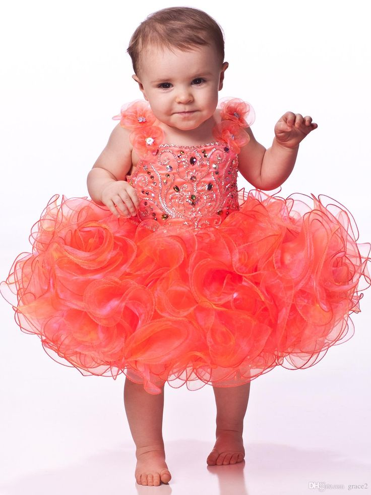 Toddler Cupcake Pageant Dresses 2017 with Handmade Flowers And Ruffles Skirt Beading Rhinestones Organza Orange Girls Birthday Dresses Infant Pageant Dresses Little Girls Pageant Dresses Baby Pageant Dresses Online with $124.58/Piece on Grace2's Store | DHgate.com