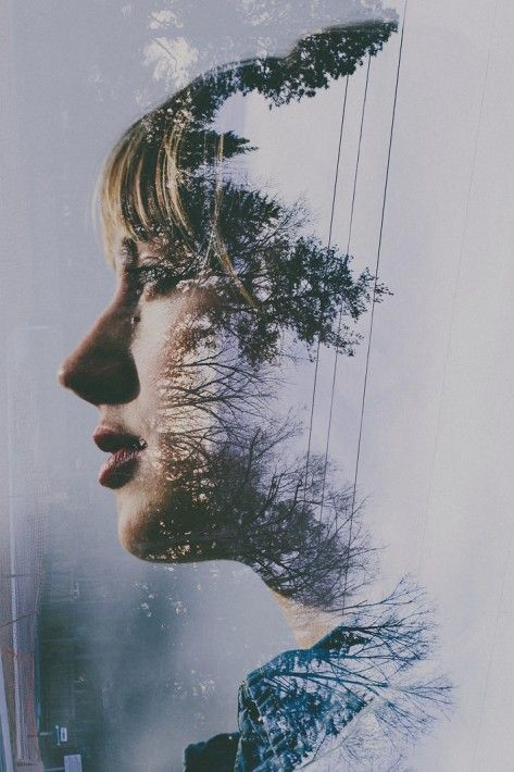 People and nature in Sara K. Byrne's double exposure photography