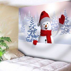 Snowman Snowscape Print Wall Tapestry - WHITE