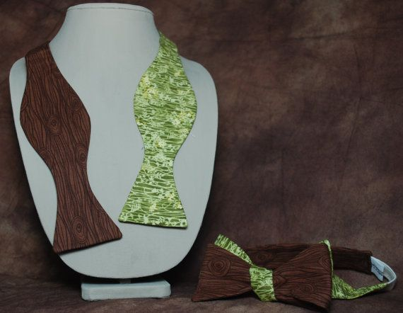 Doubleended Tree wood/leaves bow tie by AbandonedWarehouse on Etsy