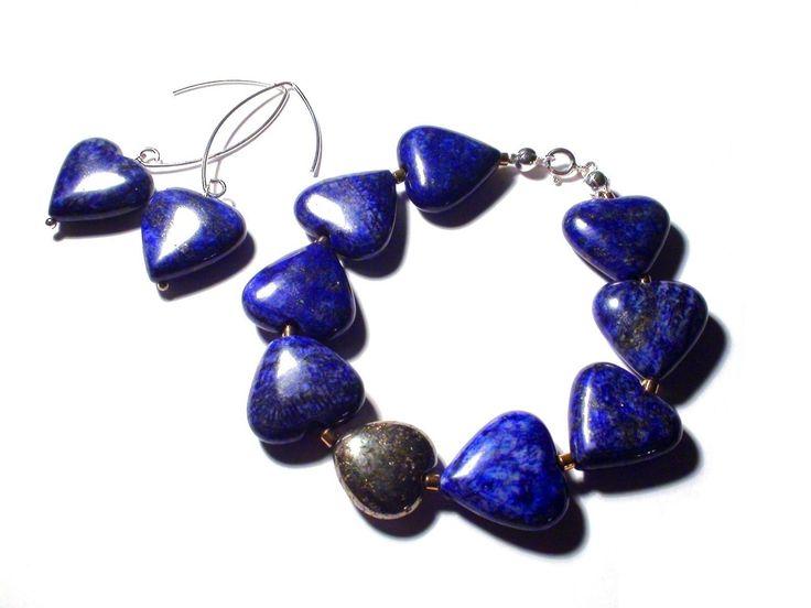 Bracelet et boucles d'oreille en Lapis lazuli Pyrite Hématite Argent, bracelet coeur boucles d'oreille, bracelet romantique délicat : Bracelet par olga-bijoux