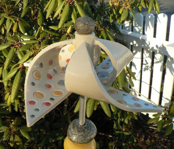 Vintage Windspiel Keramik Windrad mit Kugellager von Scherbenwerker auf Etsy