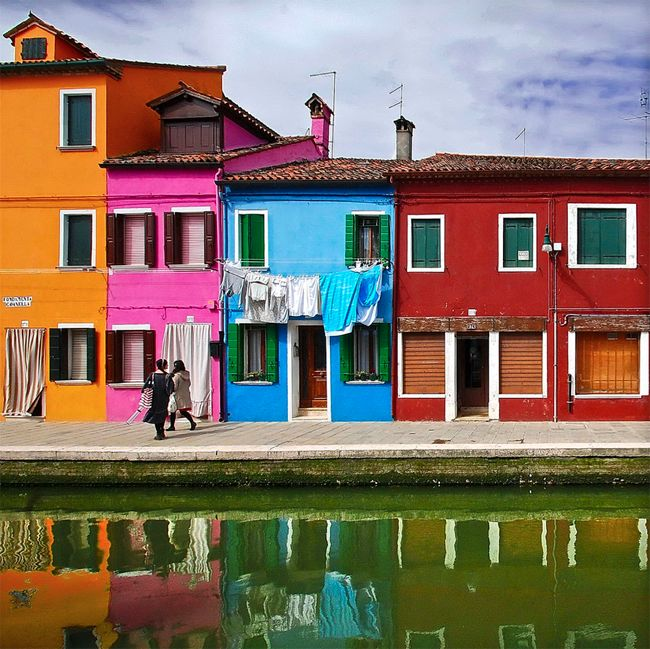 burano, venice, italy  Houses along the canal.    loved Burano, can't wait to go to venice in the fall