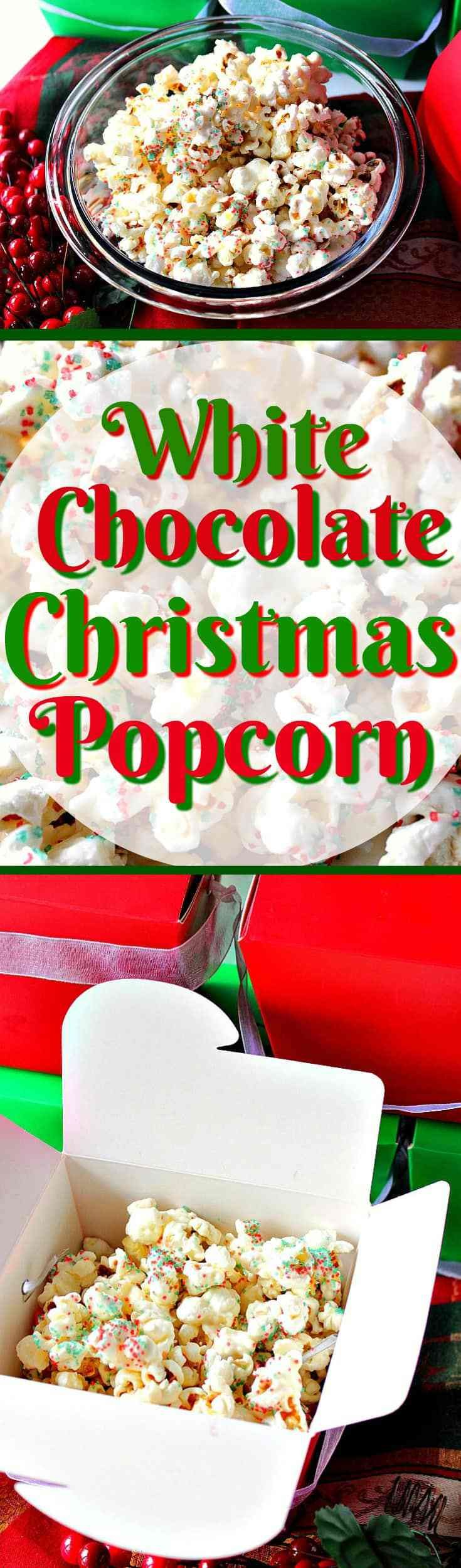 Looking for food gift ideas that won't break the bank and that any skill-level in the kitchen will be successful with, even the kiddos? Look no further. This Easy Delicious White Chocolate Christmas Popcorn is a tasty treat everyone on your gift giving list will enjoy receiving! - Kudos Kitchen by Renee