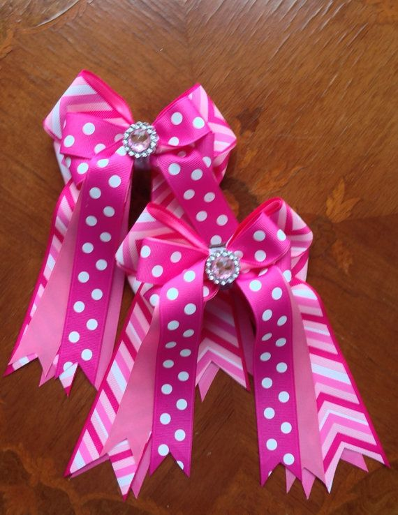 Horse show bows pink chevron bow with bling!  Perfect for leadline and walk-trot classes.  The girls LOVE this bow!  $25.00   Click on picture for more details.
