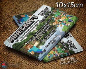 Convite Minecraft Personalizado 10x15cm