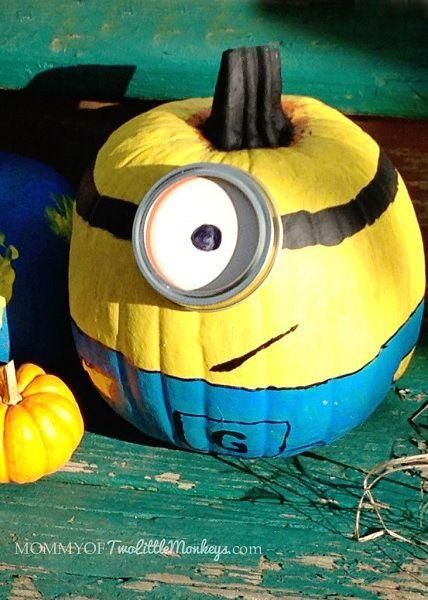 Minion Pumpkin No Carving Design, Minion Pumpkin Painting idea