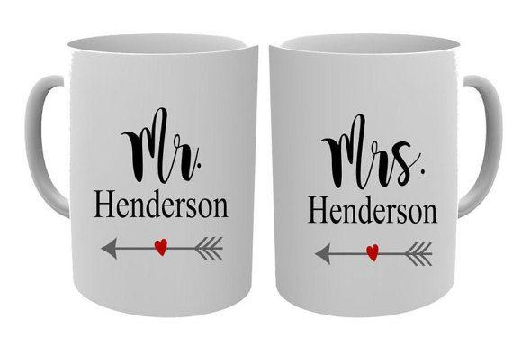 Mr and Mrs Mugs/Couple Mugs/Wedding Gift/ by NoteWorthyStationery