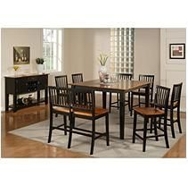Ava 9pc Cherry and Black Counter Height Dining Set