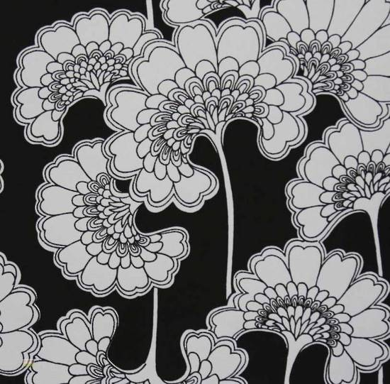Latest Designer Fabric 'Japanese Floral in Black and White' by Florence Broadhurst (AUS). Roman blinds and curtains make to order online.
