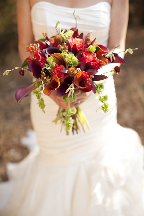 Bouquet from a rustic autumn wine country wedding / Dragonfly Farms / AE Pictures Inc. / Borrowed & Bleu