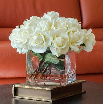 White Real Touch Roses Faux Arrangement & Centerpiece for Home Decor - contemporary - vases - seattle - Flovery by Xena Ng (Faux Floral Arra...
