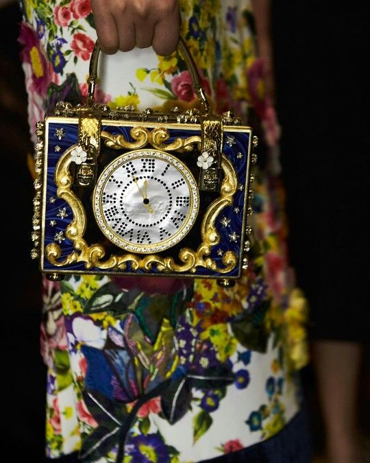 Dolce&Gabbana Fall-Winter 2016-17 #DGFabulousFantasy Women's Fashion. Stunning and Luxury Handbag with a Clock depicted. More insights on @dolcegabbana and #dgfw17. Also follow @voguerunway and #MFW.