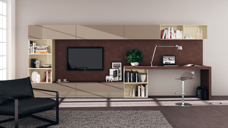 #LivingArea featuring three different colour shades: Tundra Grey, Beige and Bronze | #Scavolini |