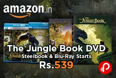 Amazon #Exclusive brings The Jungle Book DVD, Steelbook & Blu-Ray Starts Rs.539. The Jungle Book DVD @ Rs.539  The Jungle Book Blu-Ray @ Rs.1169  The Jungle Book Blu-Ray 3D @ Rs.1349  The Jungle Book Steelbook @ Rs.1799  http://www.paisebachaoindia.com/the-jungle-book-dvd-steelbook-blu-ray-starts-rs-539-amazon/