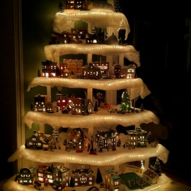 8 best Christmas Tree Towers images on Pinterest Christmas decor - christmas town decorations