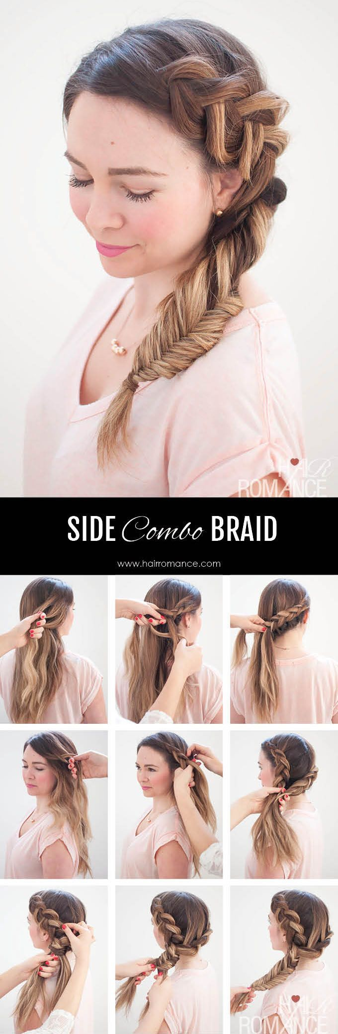 Dutch fishtail combo side braid tutorial