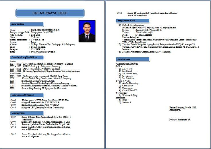 format cv yang baik pdf contoh cv daftar riwayat hidup
