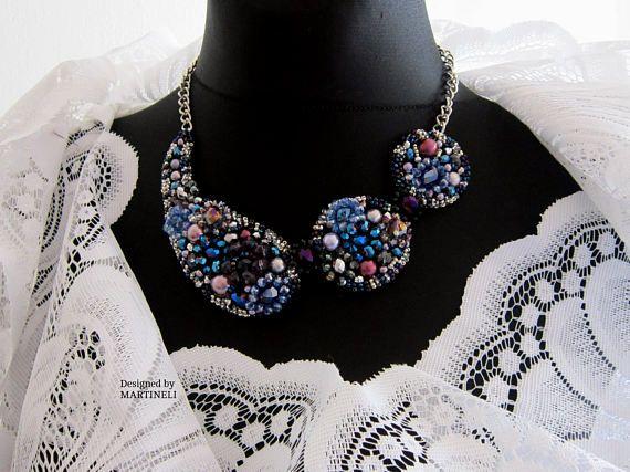 Blue Crystal Bib Statement Necklace Swarovski Multicolor