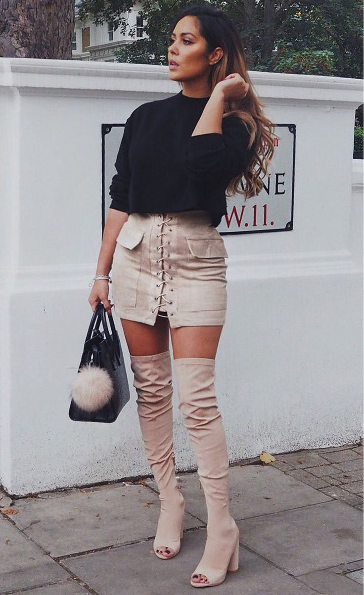 Pocket Tight Suede Lace Up Skirt