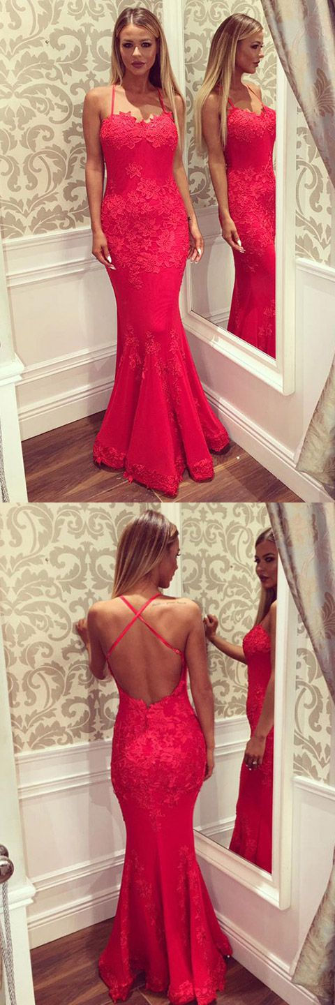 Red Prom Dress, Mermaid Prom Dresses, Sexy Evening Gowns, Open Back Party Dresses, Lace Formal Dresses