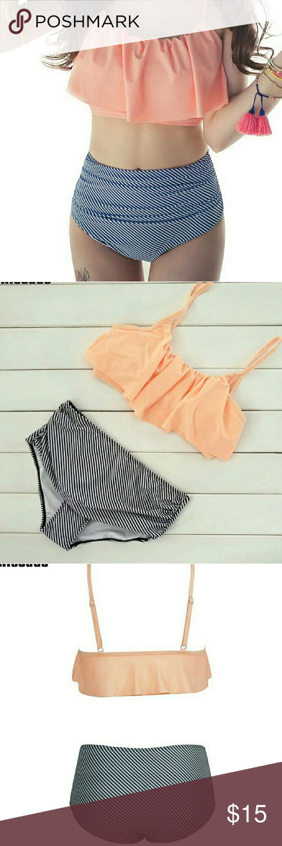 High Waist Swimwear!  JUST COMMENT IF YOU WANT TO ODER AND GIVE YOUR SIZE!!  High Waist Swimwear Women New 2017 Ruffle Vintage Bikinis Swimsuit Bandage Striped Bottom Bathing Suits! Swim
