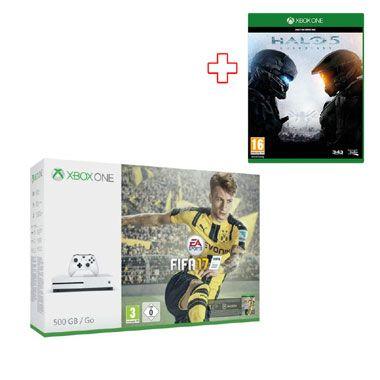 Xbox One S 500GB - FIFA 17 Bundel  FIFA 17 speel je op de nieuwe Xbox One S. Deze console is 40% kleiner heeft 4k Ultra HD-video een nieuwe controller met verbeterde grip en een 500 GB harde schijf.  EUR 289.00  Meer informatie
