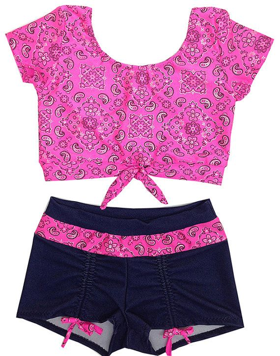 Denim and Bandana Spandex Dance Wear Outfit. by DanceMomsDanceWear, $60.00