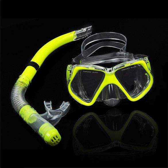 2016 New Scuba Diving Equipment Swimming Glasses/ Mask + Dry Snorkel Set Scuba Snorkeling Gear Kit blue/ yellow