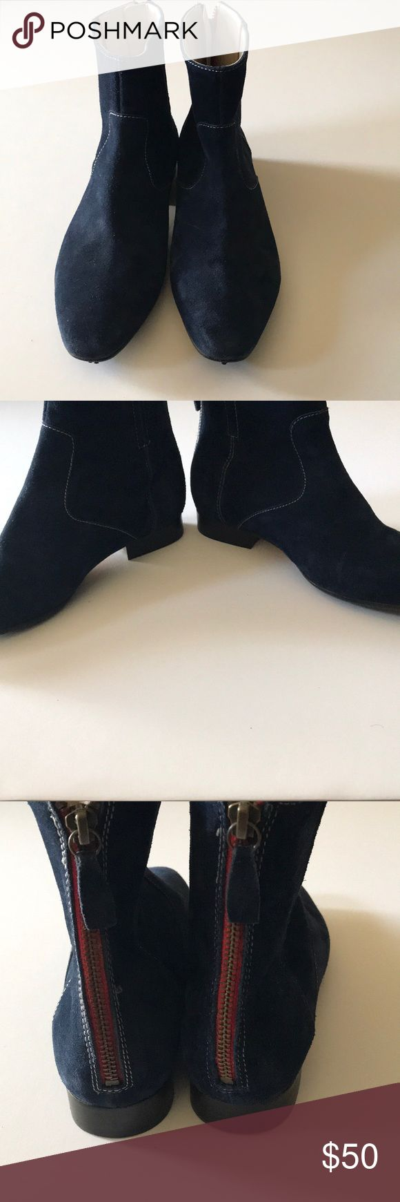NWOT Boden Suede Booties Blue Suede with zipper closure in back and almond toed. 1.5- 2in heel Boden Shoes Ankle Boots & Booties