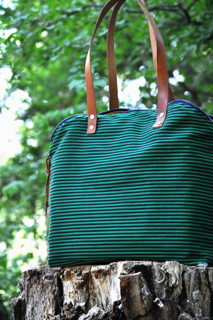 anne b: navy blue and kelly green striped handbag with leather straps: Leather Straps, Stripes Handbags, Kelly Green, Green Stripes, Navy Blue